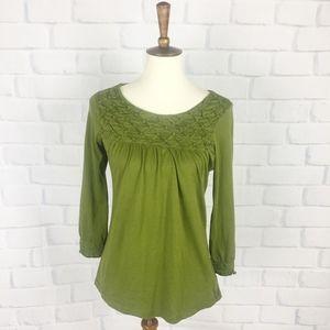 Anthropologie Deletta 3/4 Sleeve Green Shirt